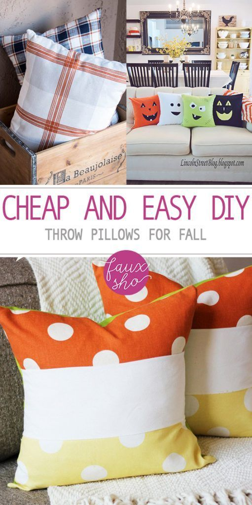 Cheap and Easy DIY Throw Pillows for Fall - Diys, Pillows and Diy - halloween diy crafts