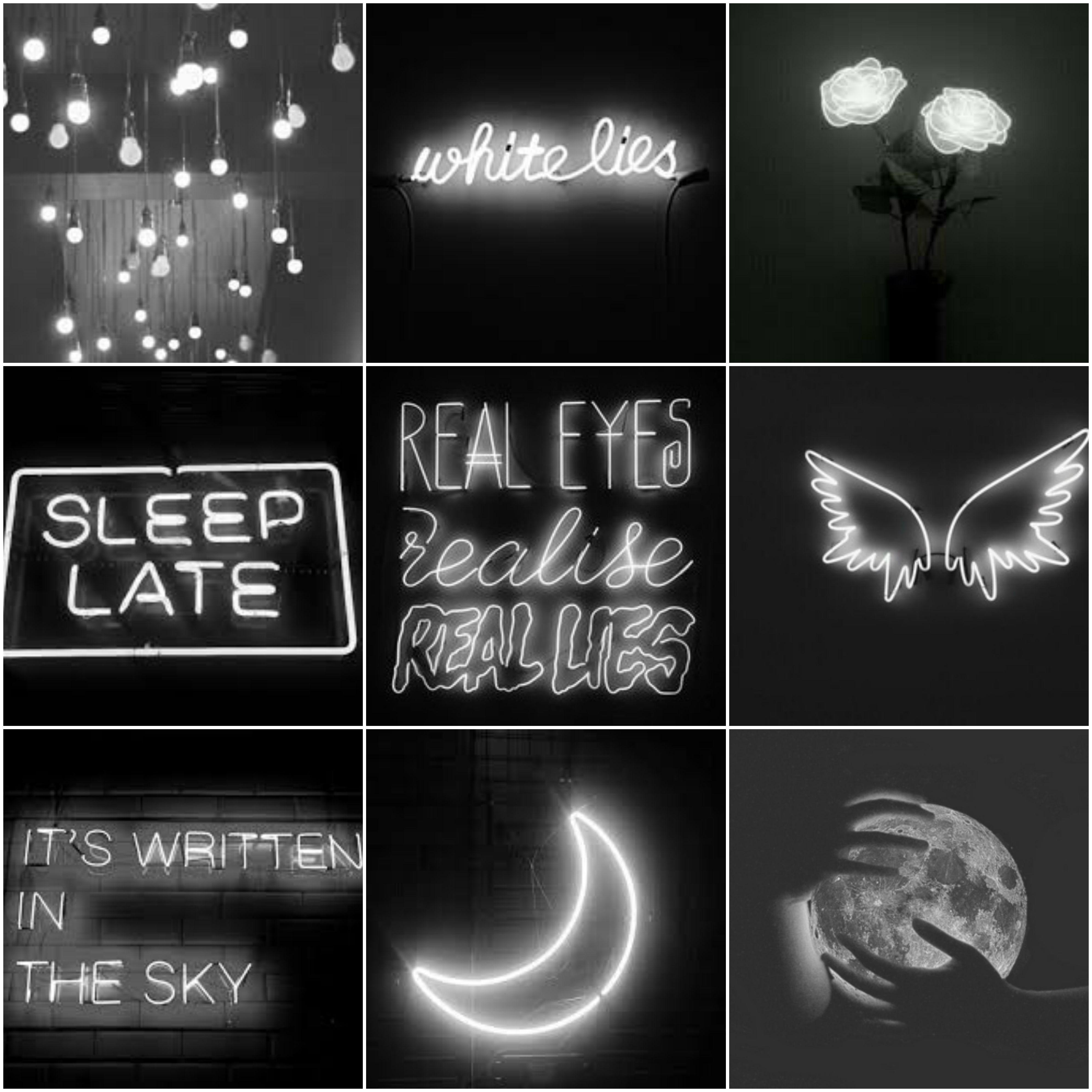 Dark Neon White Aesthetic