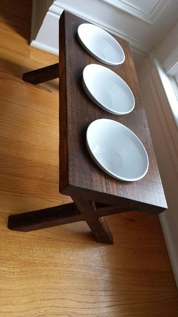 3 Bowl Raised Dog Bowl DishElevated Stand Rustic by ...