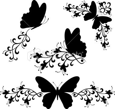 Black And White Vector Illustration Of Butterflies Frames Corners Silhouette Stencil Silhouette Art White Butterfly
