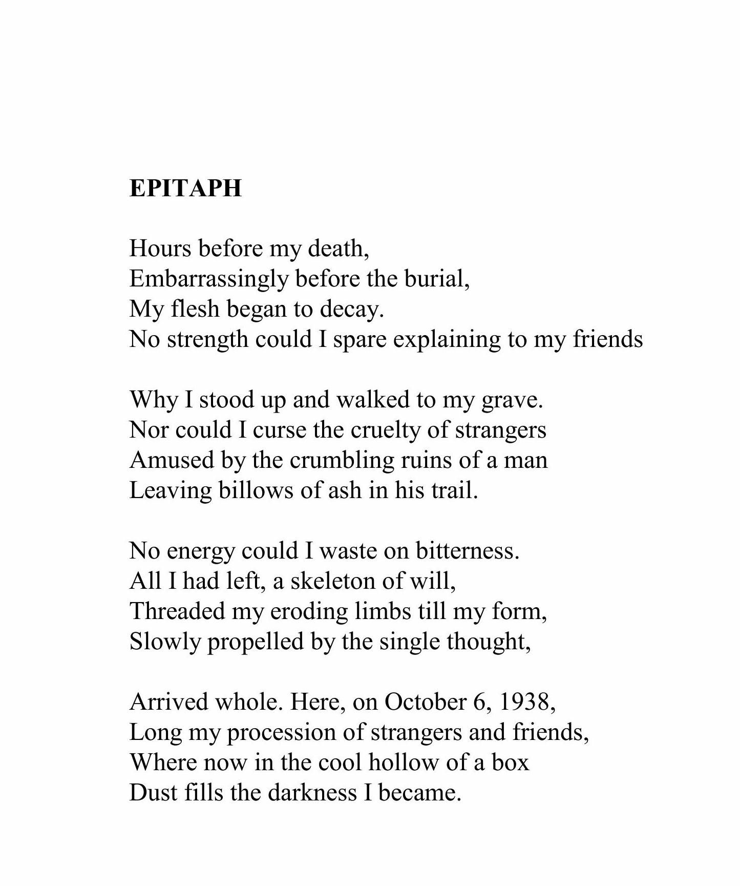 Epitaph Epitaph Poetry Stand By Me
