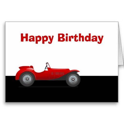 Happy Birthday With Classic Car Red Racing Car Card Bilar Kort