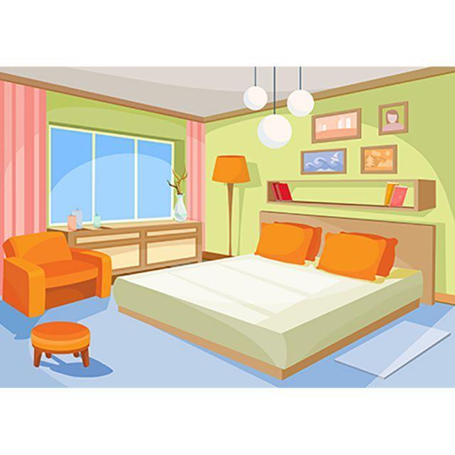 Best Vector Cartoon Illustration Interior Orange Blue Bedroom A 400 x 300