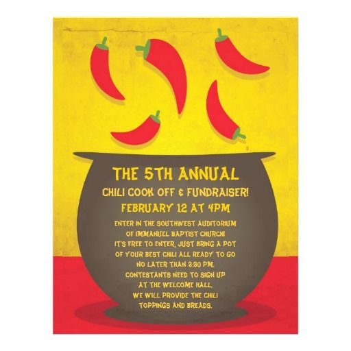 Printable Chili Cook Off Invitation Flyer Template Click To Customize Chili Cook Off Cook Off Contest Poster