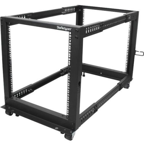 Startech Com 12u Adjustable Depth Open Frame 4 Post Server Rack W Casters Levelers And Cable Management Hooks Server Rack Open Frame Cable Management