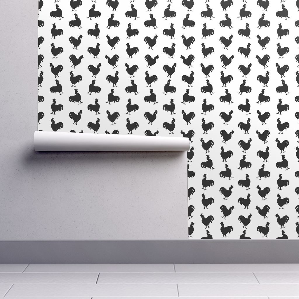 Vintage rooster silhouettes wallpaper spoonflower wallpaper