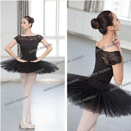 89f48a2a08 Preto de Manga curta lace sexy M-XXL Dancewear Ballet ginástica Collant de  balé roupas de dança da menina das mulheres de balé ginásio terno adulto