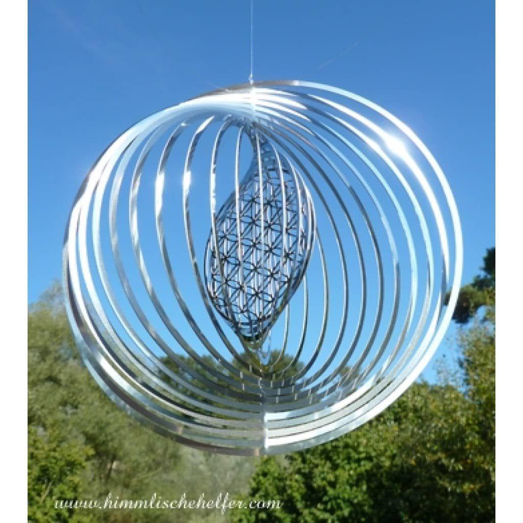 Windspiel Blume des Lebens Edelstahl Windspiele Wetterfest Garten Deko Balkon