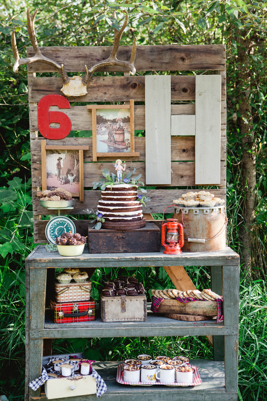 From kara s party ideas rustic dessert table display designed by - Adventure And Outdoors Themed Birthday Party Dessert Table We Love The Wood Pallet Backdrop