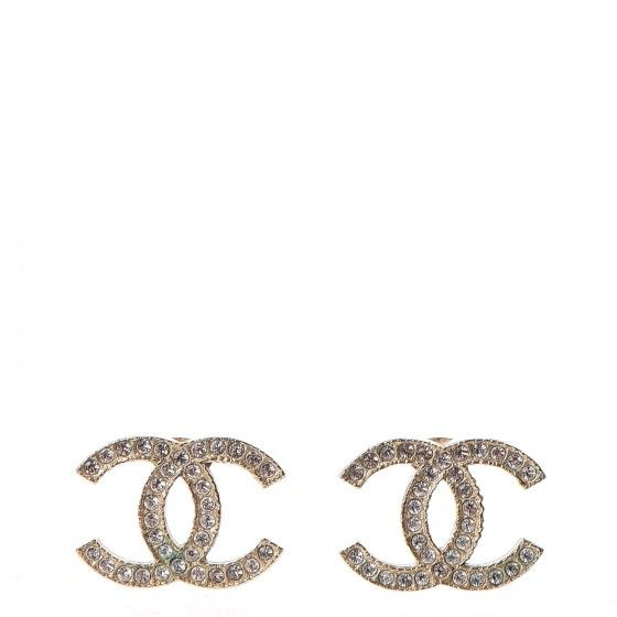 This Is An Authentic Pair Of Chanel Crystal Cc Earrings In Gold These Clic Are Crafted Light Metal Set With Small Crystals