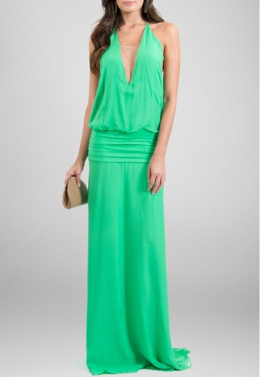 Vestido seda verde animale