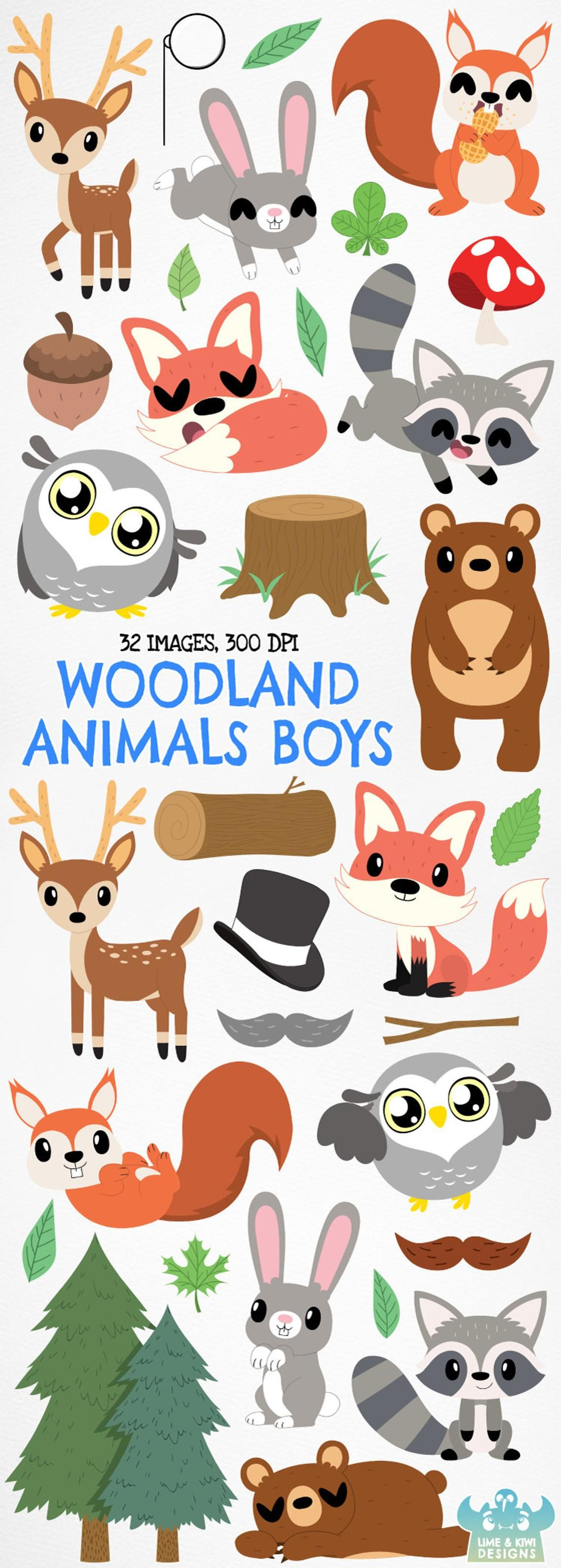 Woodland Animals Boys Clipart, Instant Download Vector Art