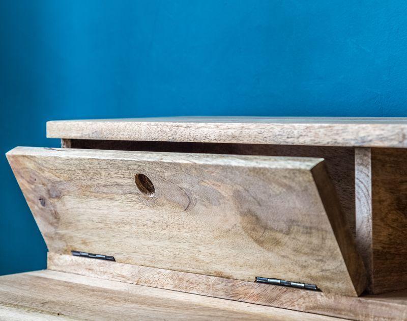 Bureau métal noir et bois de manguier double zéro guibox