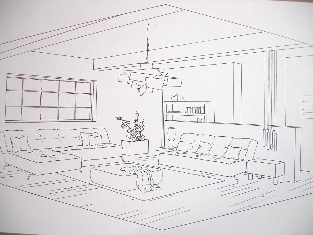 Pin by dawn hershberger on id rendering drawing in 2019 - Two point perspective living room ...