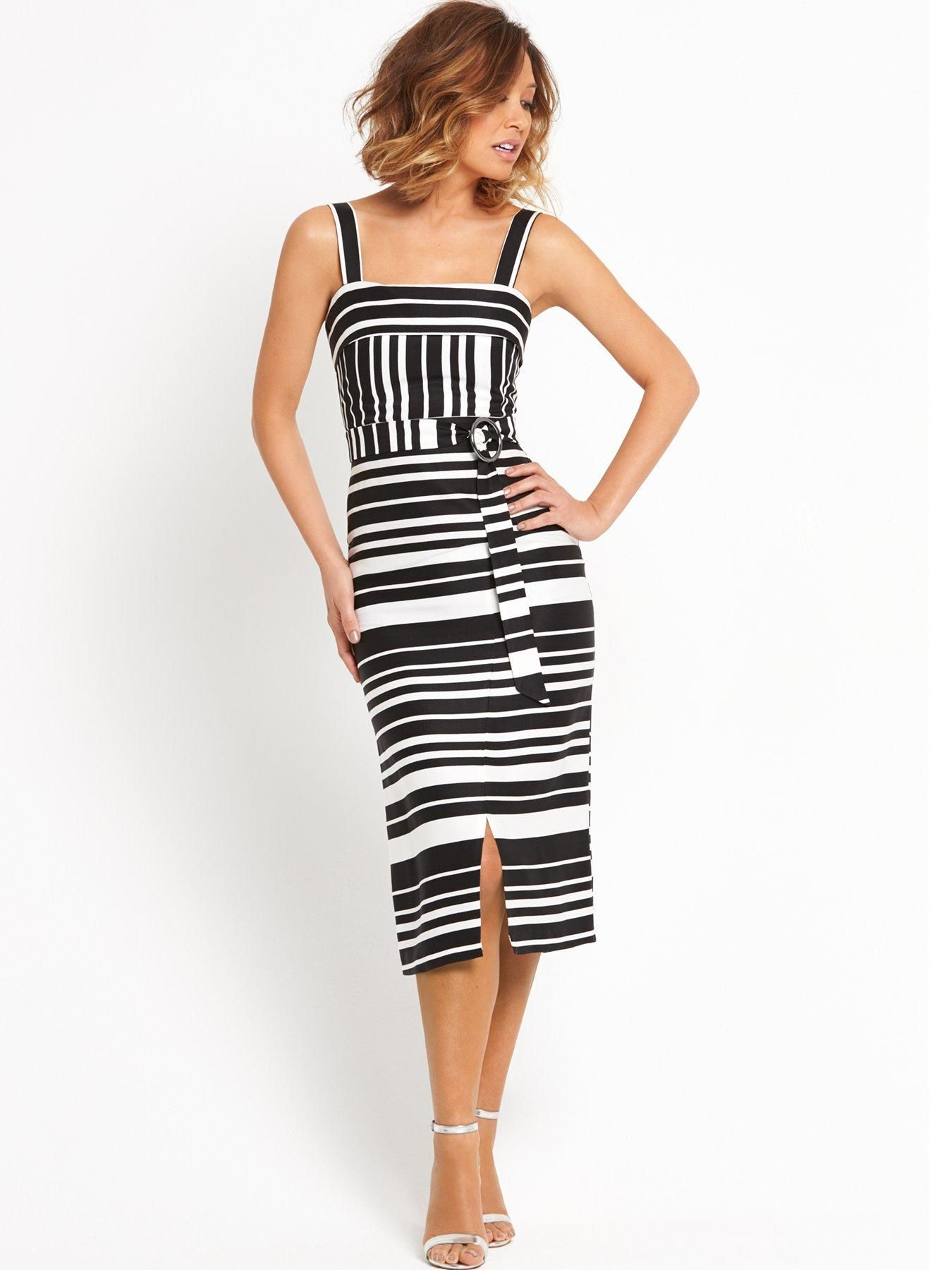 Black sandals littlewoods - Leading The Glamour Was Presenter Myleene Klass Who Highlighted Her Slim Figure In A Black And White Midi Dress From Her Littlewoods Collection