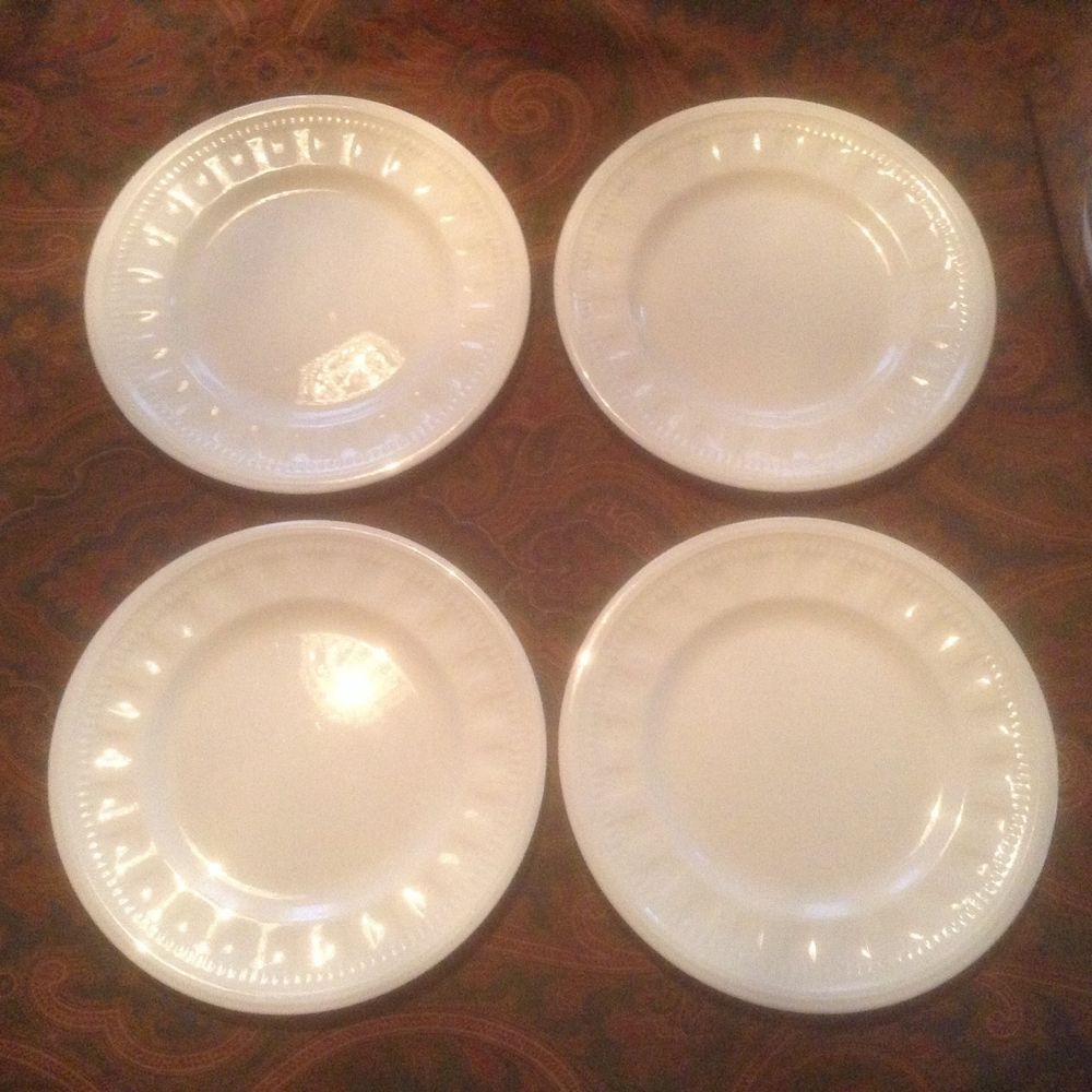 Wedgwood Colosseum Bicentenary Celebration 4 bread and butter plates white #Wedgwood & Wedgwood Colosseum Bicentenary Celebration 4 bread and butter plates ...