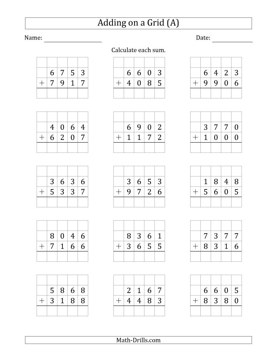 The Adding 4 Digit Plus 4 Digit Numbers On A Grid A Math Worksheet Addition Worksheets Math Addition Worksheets First Grade Math Worksheets