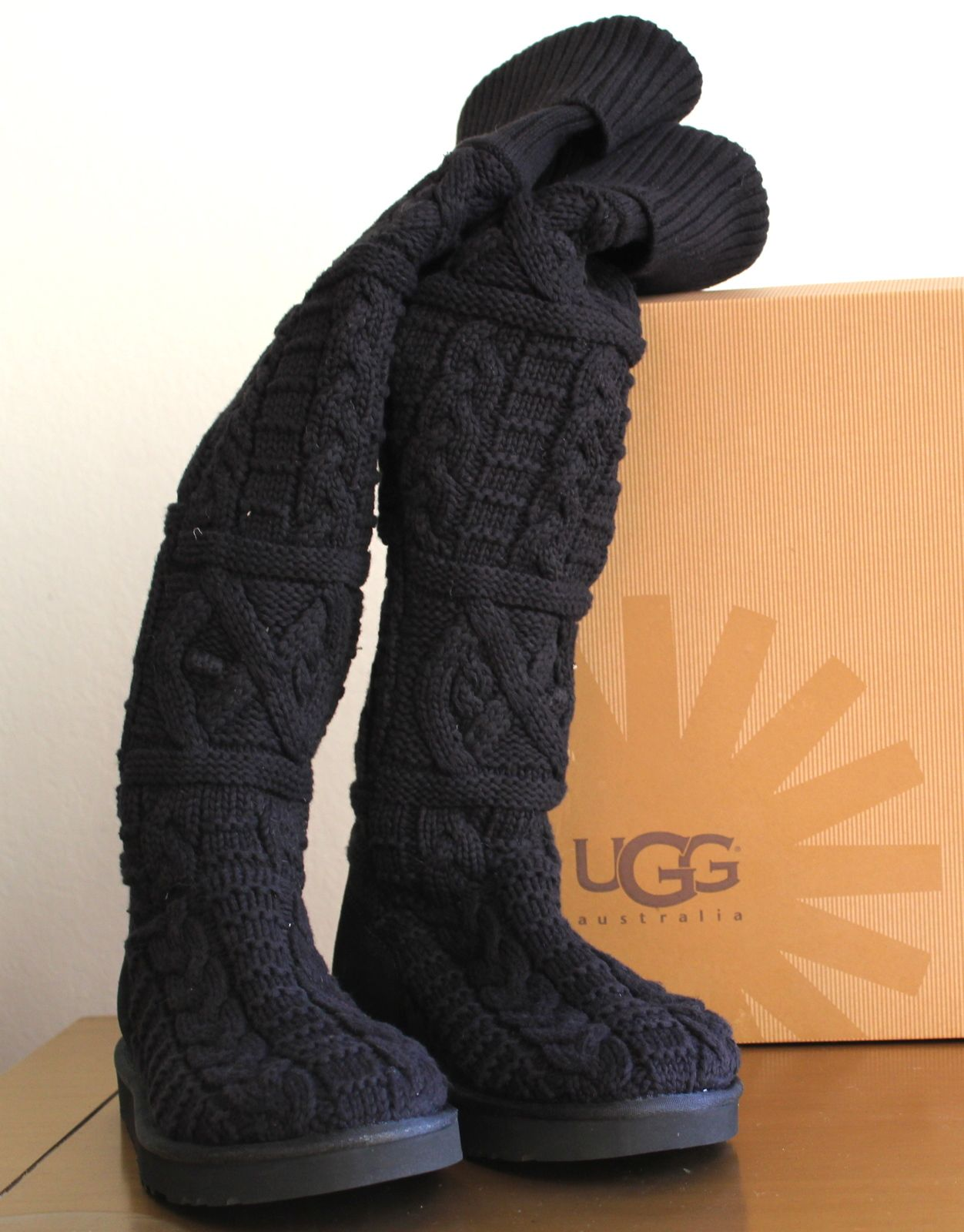 90e2c0af7e4 New Ugg Women s Over The Knee Twisted Cable Black Sz US 10 UK 8.5 EU 41 -  Boots