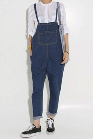Cute Big Pocket Loose-Fitting Women's Dungaree