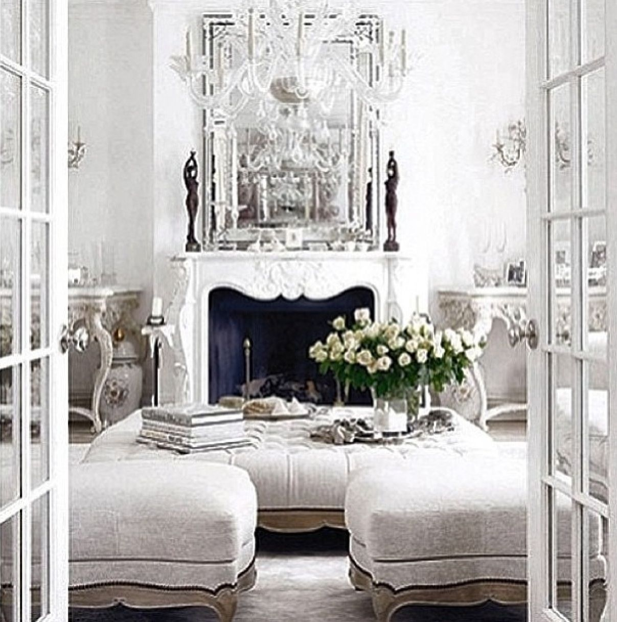 White living room. Fireplaces and chandeliers. | Pretty Things ...