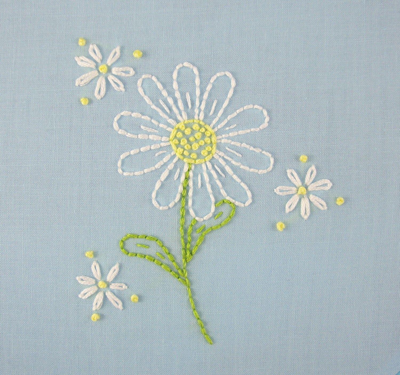 Daisy hand embroidery pattern daisy embroidery daisy design wall
