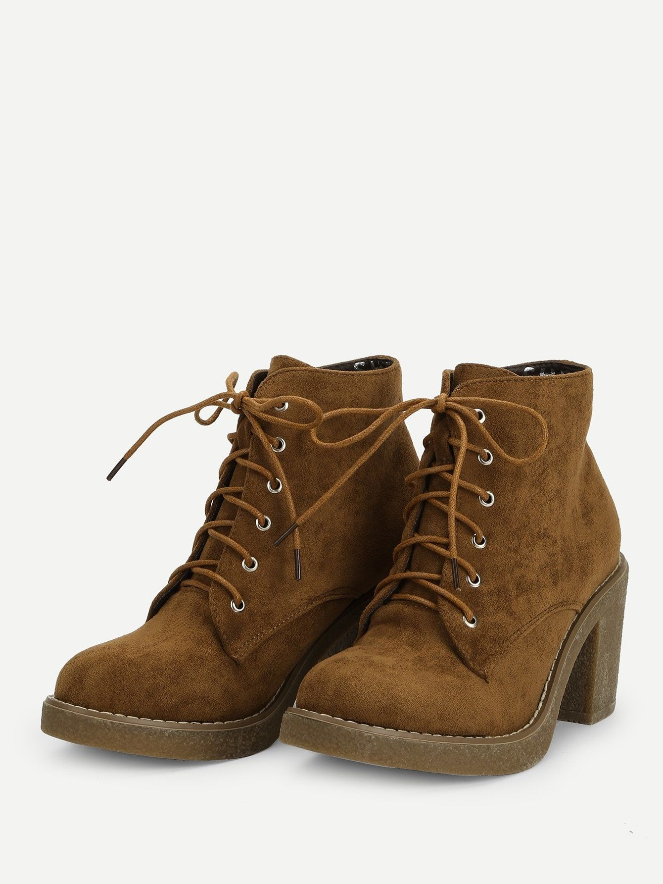 b61a771bf26 Casual Round Toe Ankle No zipper Camel High Heel Chunky Lace-up Block Heeled  Ankle Boots