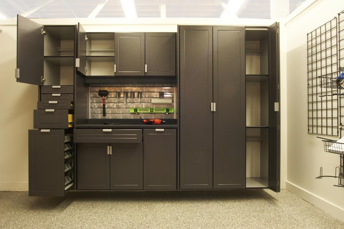 Attractive Small Garage Cabinets Decorating With Drawer Various Sizes Set As Well  Beige Floor And Lighting Ceiling