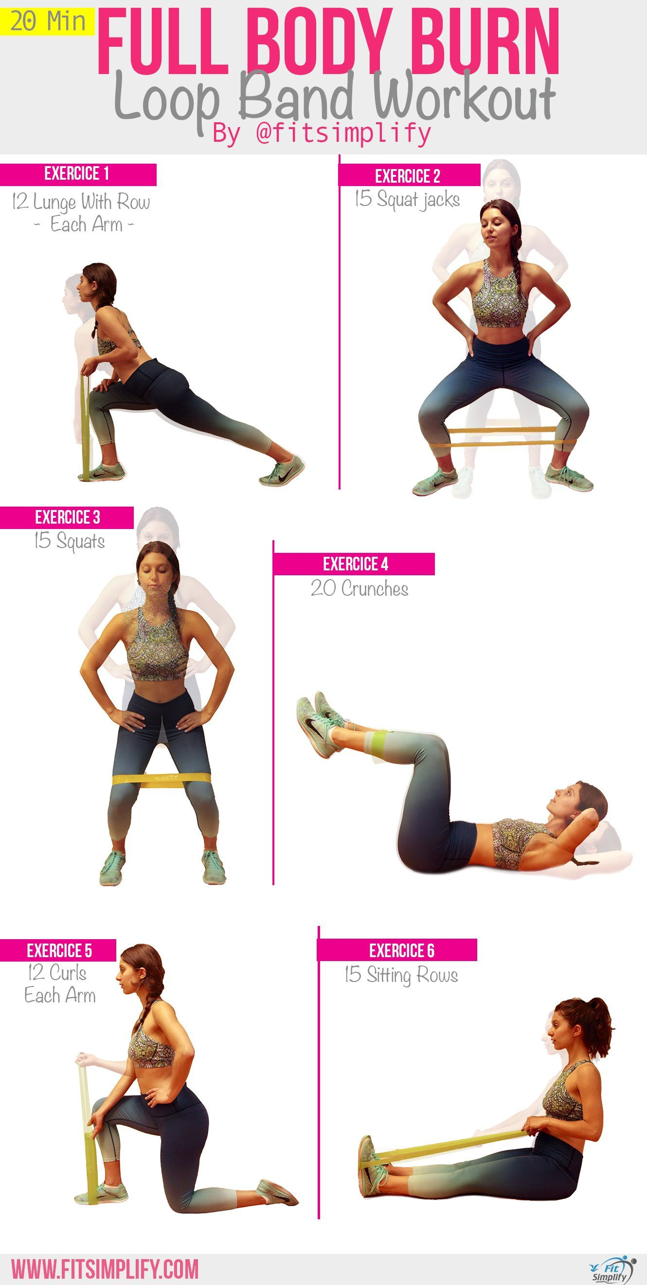 Here's a great quick 20-min workout targeting the upper and lower body, using loop bands. To grab yo...