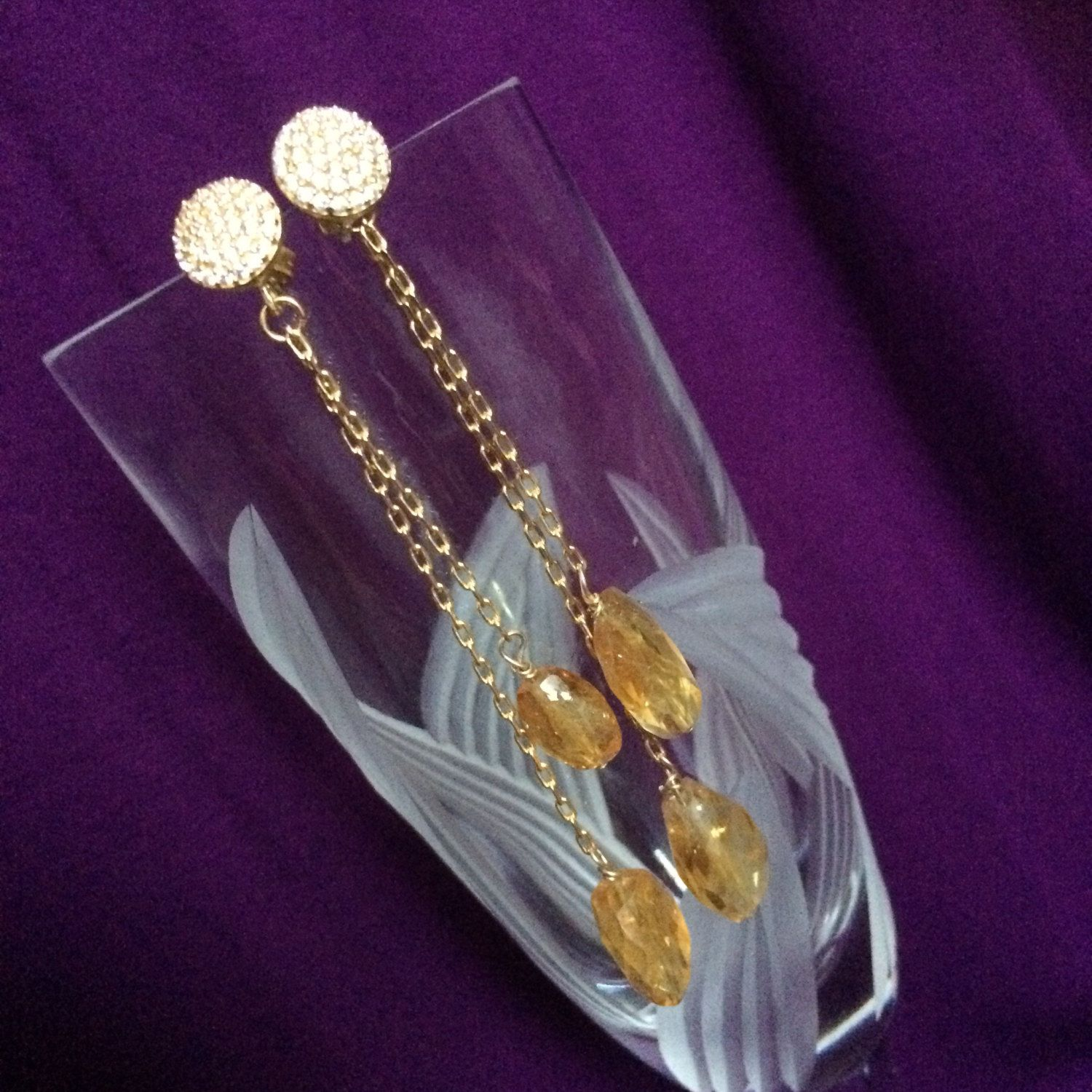 Citrine & sparkly pave crystal chandelier earrings by IrkaDesign on Etsy