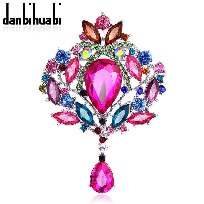 여러 가지 빛깔의 물 드롭 모조 다이아몬드 브로치 배지 핀 큰 브로치 여성 패션 broches 보석 웨딩 무료 배송