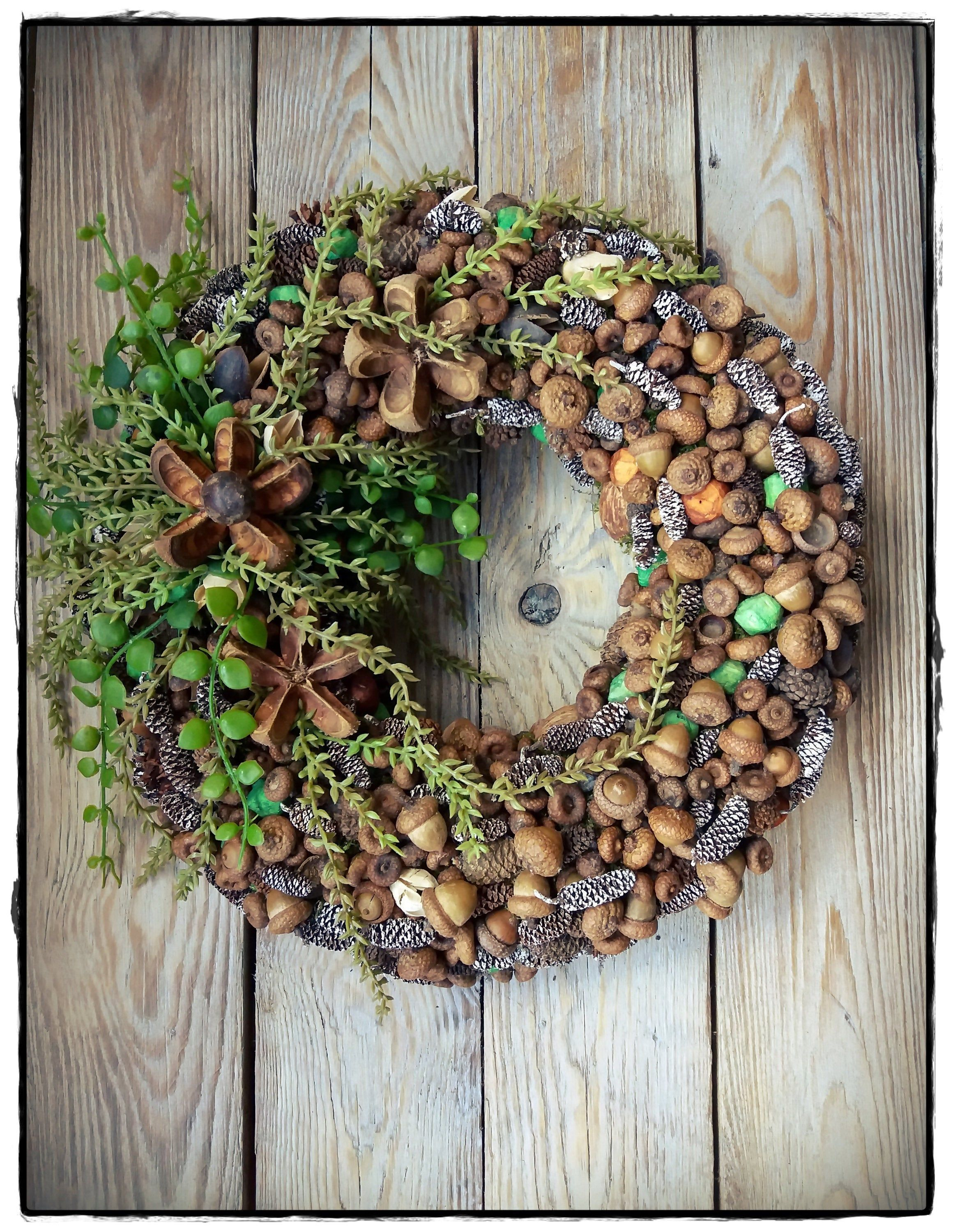 Photo of Natural wreath, autumn/winter wreath, Christmas wreath, table wreath, home decoration with natural and artificial elements,housewarming gift
