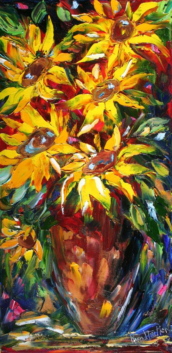 Original Painting Sunflower Abstract Modern Impressionism