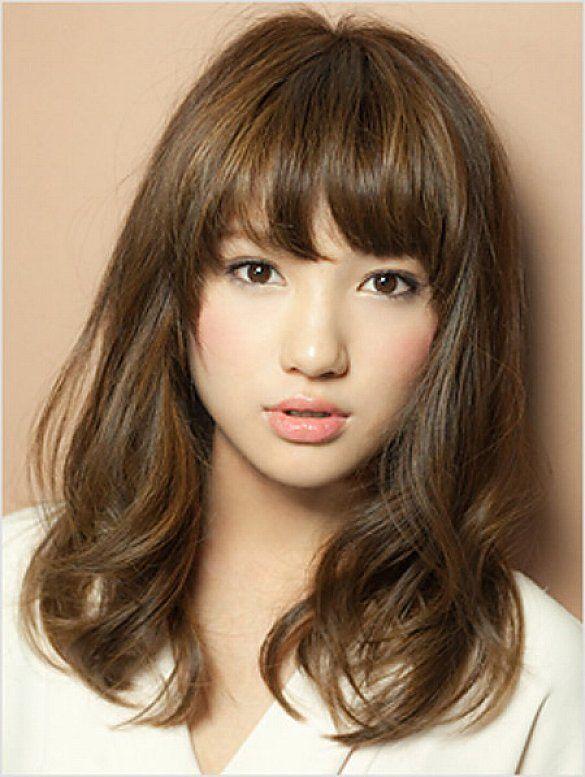 Asian Long Bob Hairstyles With Bangs For Wavy Hair Women
