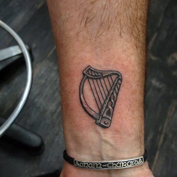 0407a0259 60 Harp Tattoo Designs For Men - Musical Instrument Ink Ideas ...