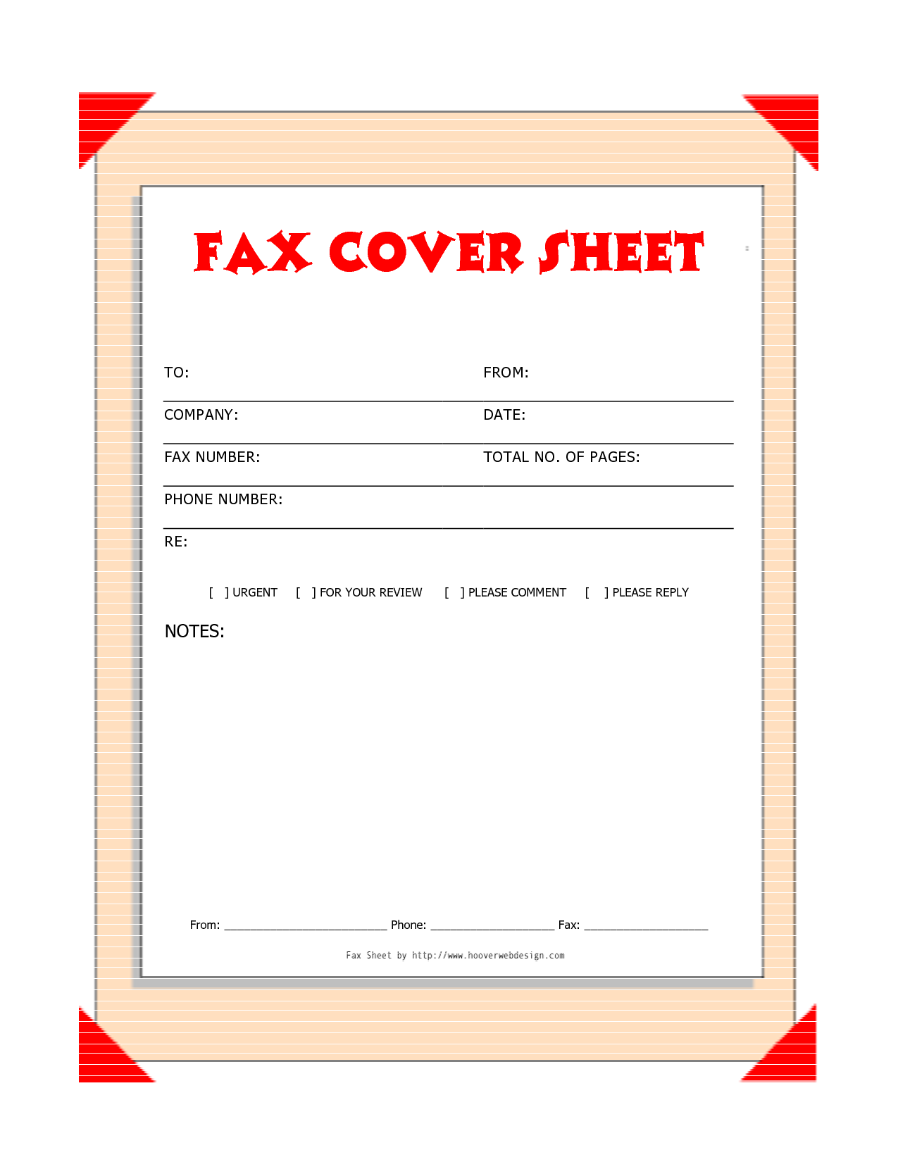Free Downloads Fax Covers Sheets | Free Printable Fax Cover Sheet Template  Red   Download As  Free Fax Template Cover Sheet Word
