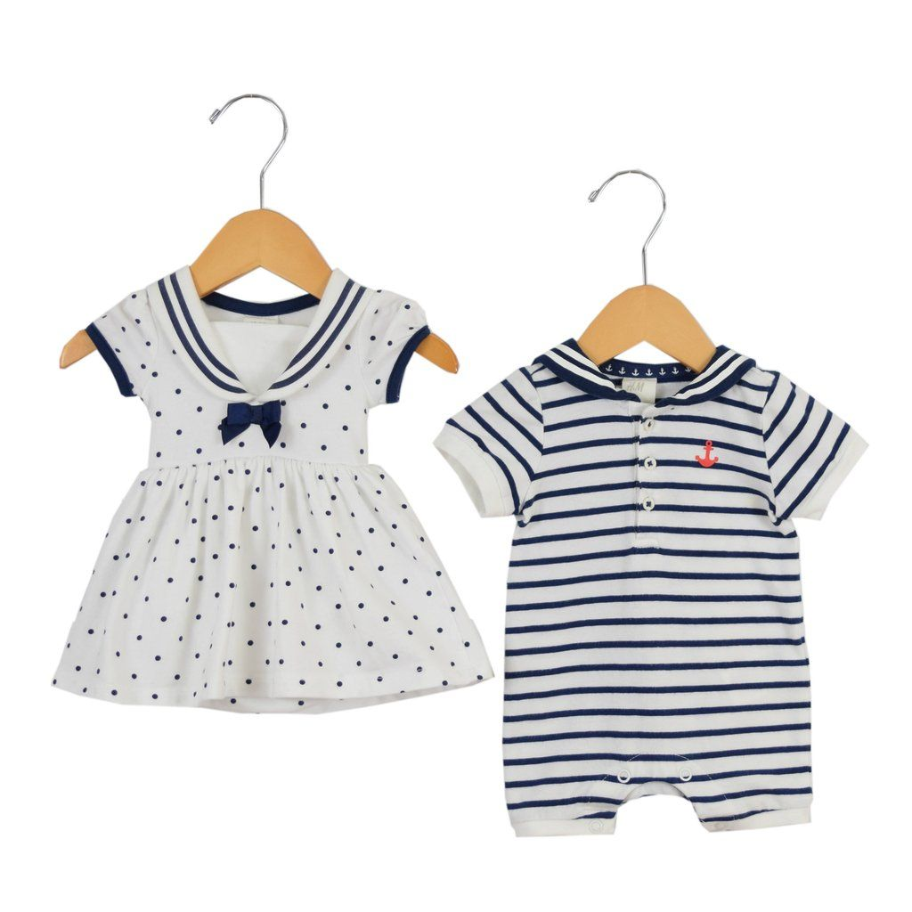 afc92e036 Boy/Girl Twin a Clothes at Ringaroundtherosieboutique.com Nautical Dress  and Romper Set