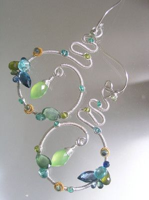 Gorgeous Bellajewels Original Blue Topaz Emerald Chalcedony Sculptural Sterling Earrings on Ebay