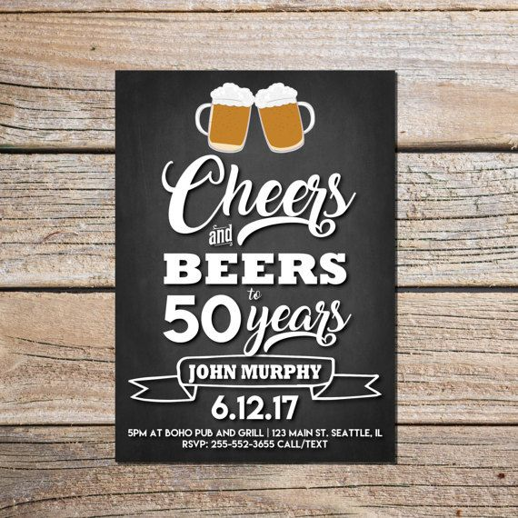 Birthday Invitations Cheers Amp Beers Invitation Surprise Chalkboard 30th 40th