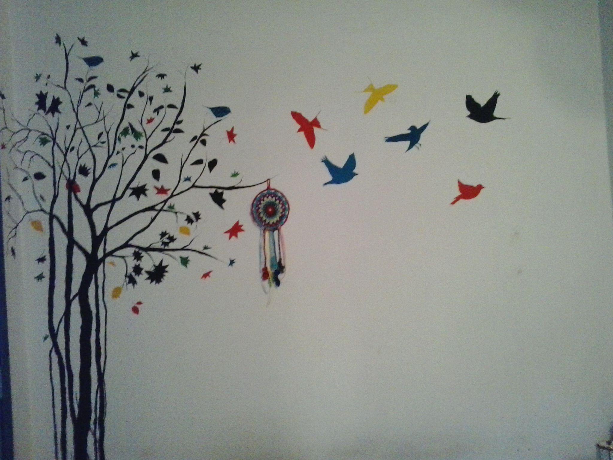 Rbol y p jaros pintados en la pared del dormitorio mas - Fotos de paredes ...