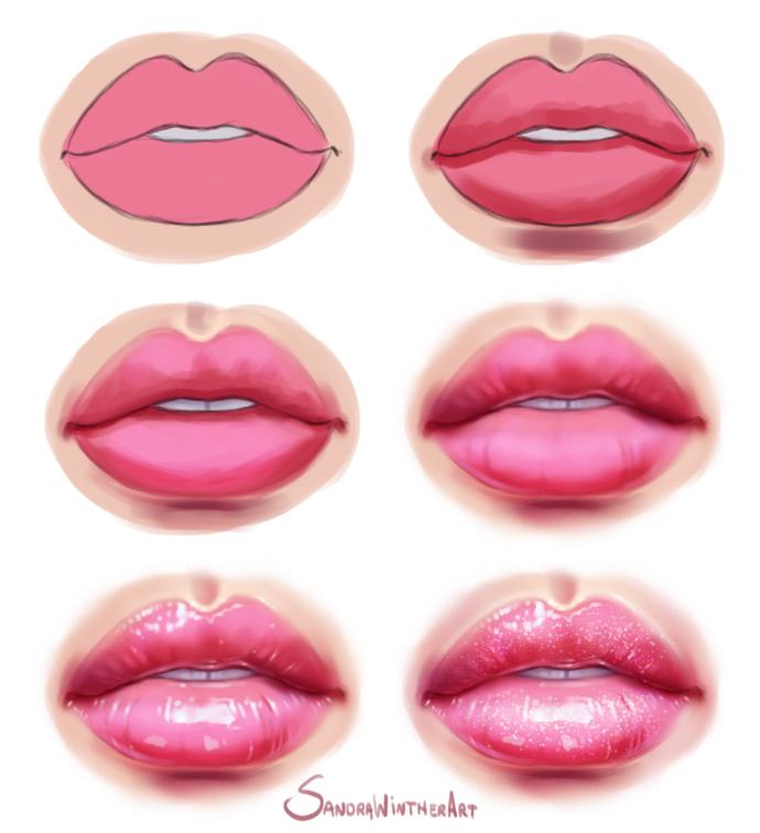 Glossy Lips Step By Step By Sandrawinther Digital Art Tutorial Beginner Digital Art Beginner Digital Painting Tutorials