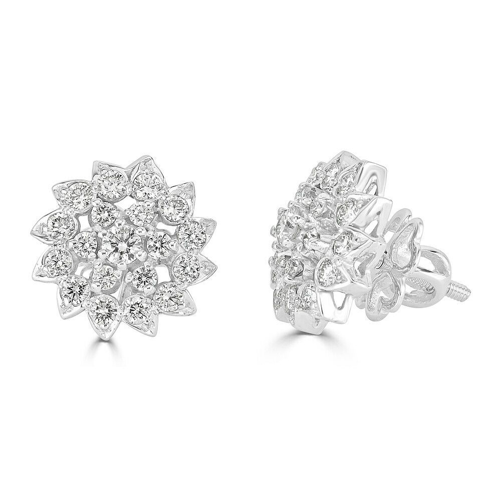 18k white gold designer flower round diamond earrings gh