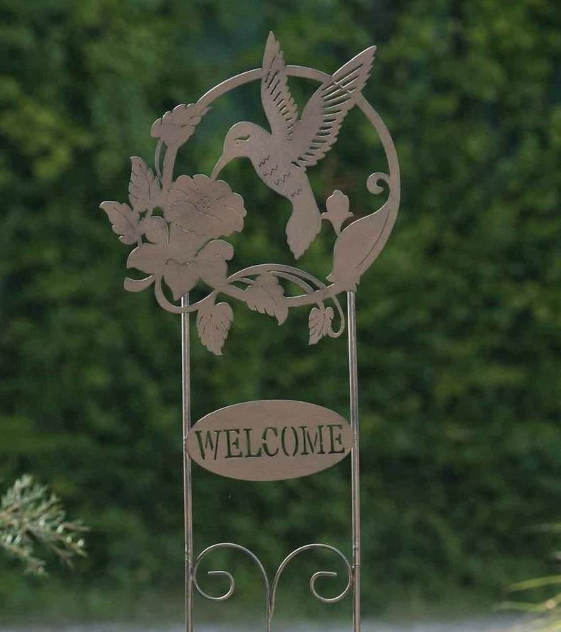 Hummingbird Welcome Sign Garden Stake Yard Art Tall