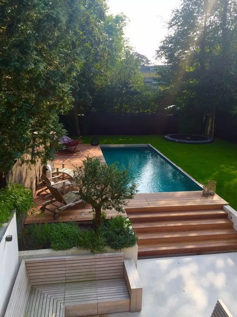 Wood Deck Swimming Pool Swimming Pool Z Freedman Landscape Design