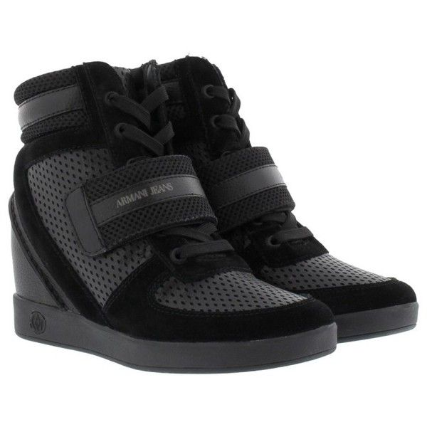 0e7bdb97276 Armani Jeans Perforated Wedge Sneakers Nero in black, Sneakers ($235) ❤  liked on Polyvore featuring shoes, black, black velcro shoes, synthetic  leather ...