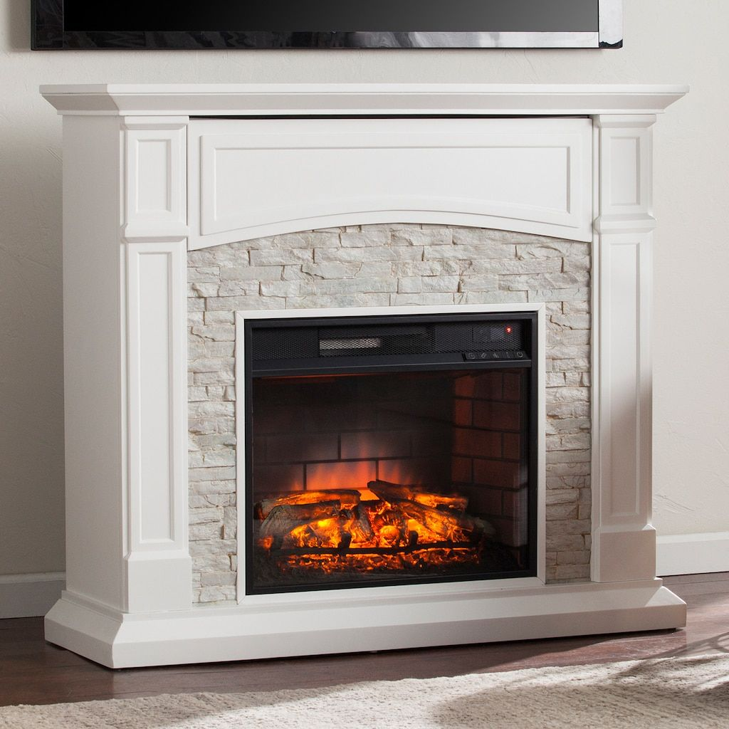 Shannon Faux Stone Infrared Electric Fireplace Weiss