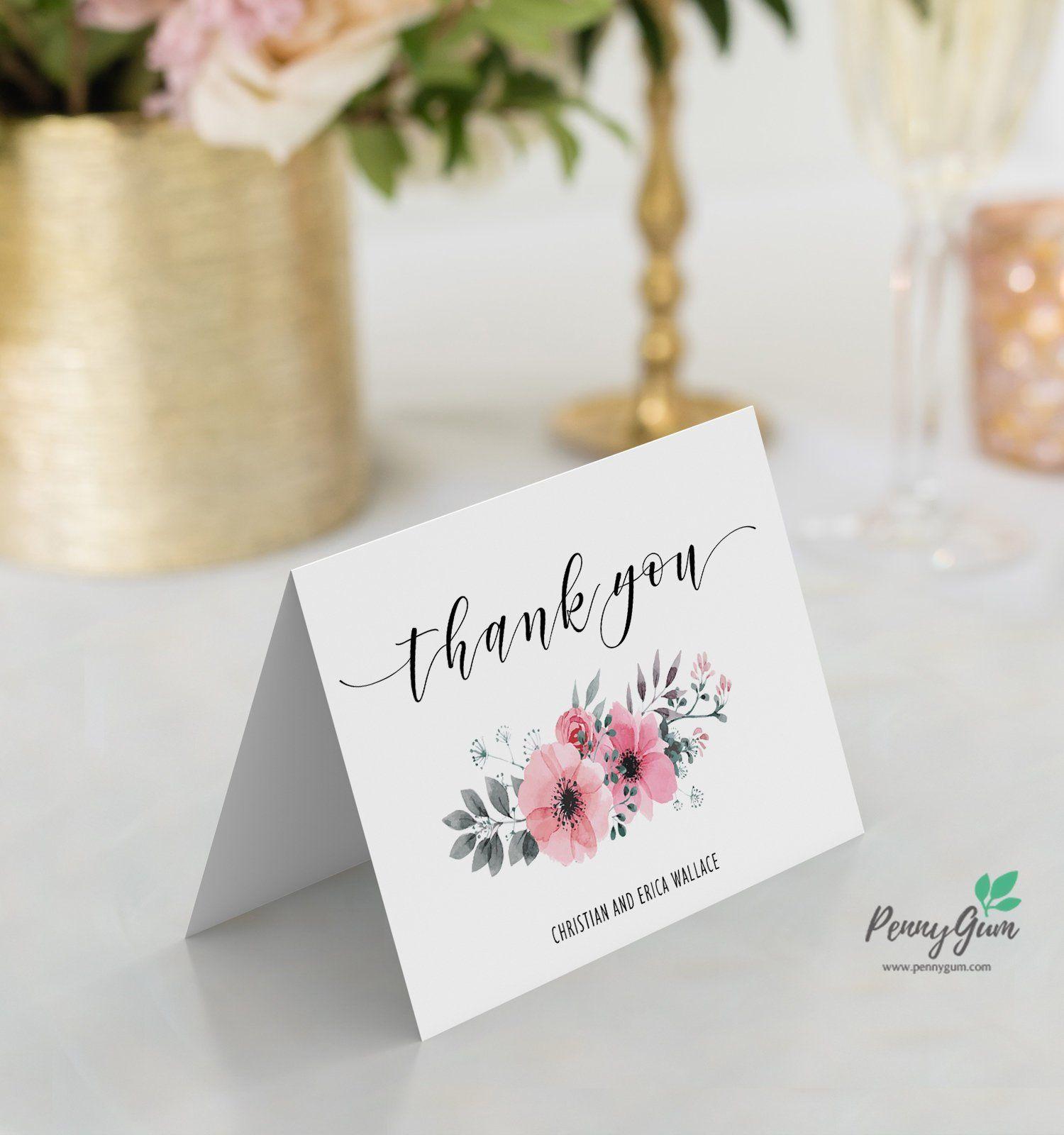 Floral wedding reception thank you card editable