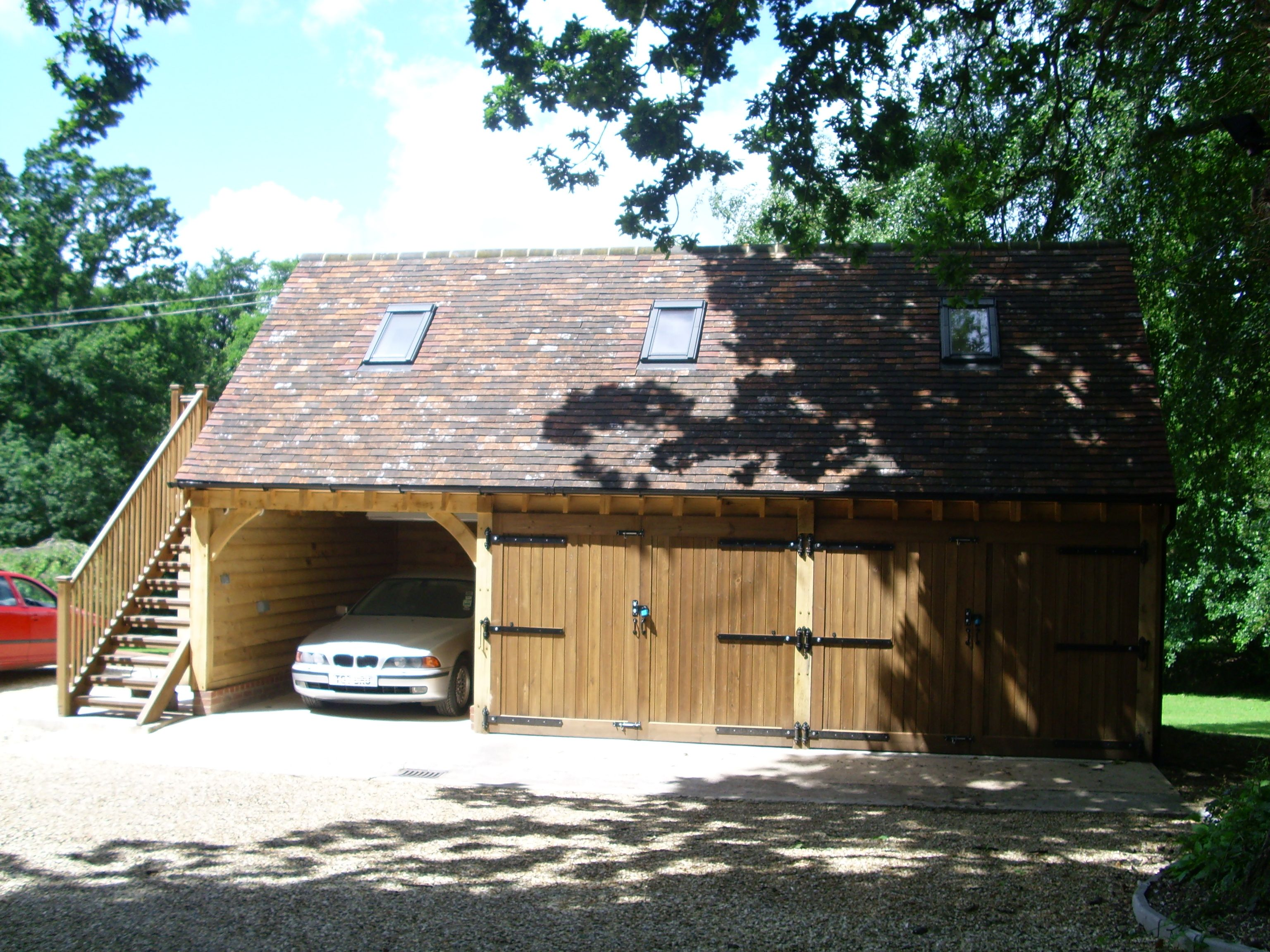 3 bay oak garage with velux windows bespoke brickwork garage office