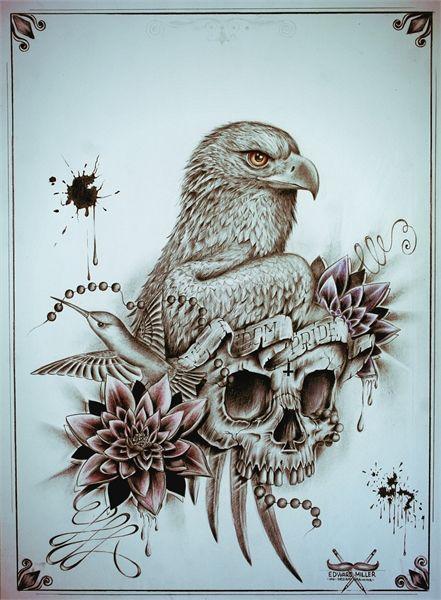 Eagle Skull Ink Design By Edward Miller Skullspiration Com Skull Designs Art Fashion And More Eagle Skull Skull Art Skull Tattoo Design