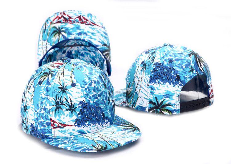 a6bcf6e3 Tropical Print Hawaii Casual Snap Back Caps Flat bill Beach 5 Panel Hats  for Men Women Baseball Cap