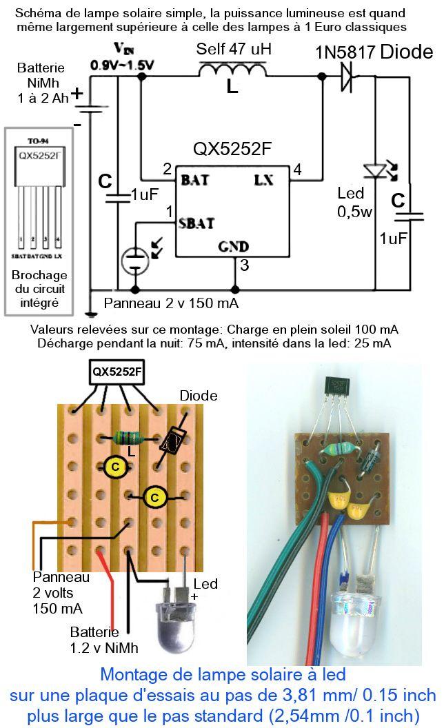Qx5252 Schema Montage Plaque Essais Lampe Solaire Led Divers
